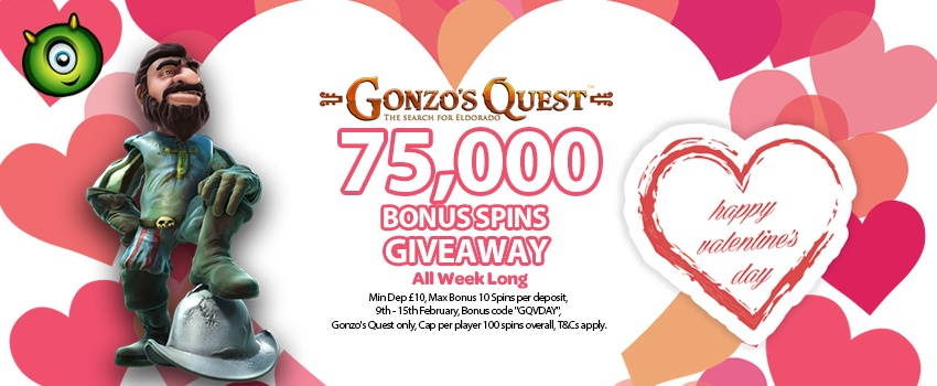 Valentine's Day Special: Play Gonzo's Quest And Get 75,000 Free Spins