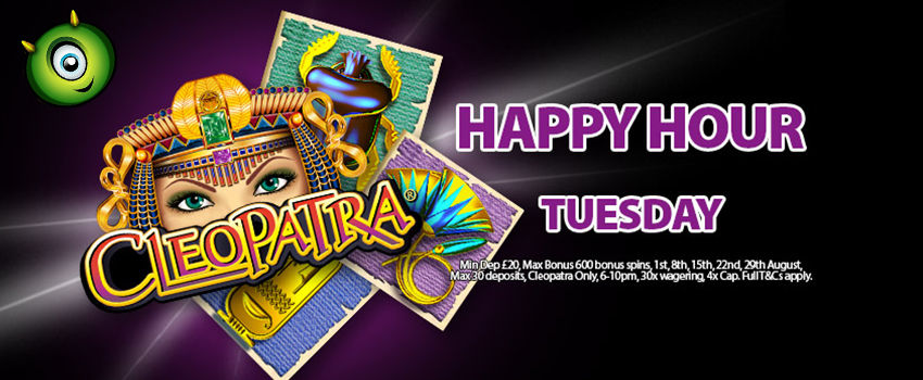 Play Cleopatra Slots with 20 Free Spins at Our Happy Hour
