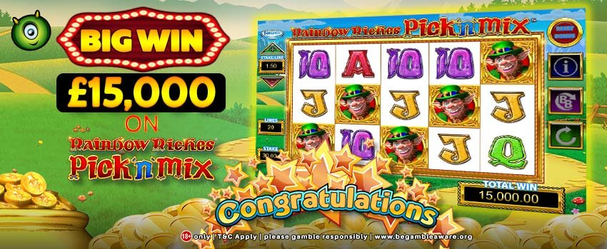 Big Win on Rainbow Riches Pick 'n' Mix Slots at Monster Casino!