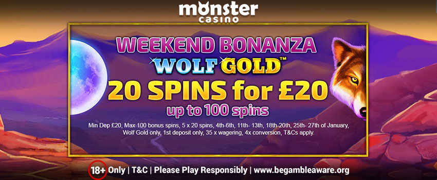 Enjoy up to 100 Free Spins on Wolf Gold Slots Every Weekend